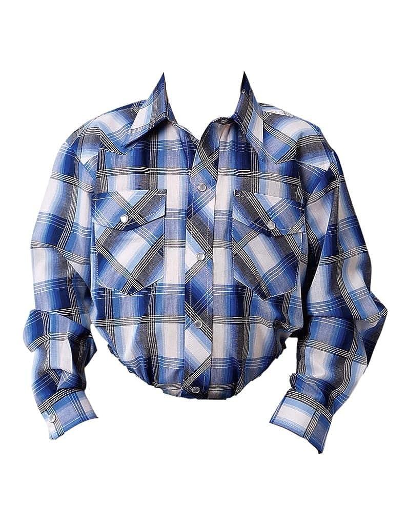 01-030-0101-0154 Bu Roper Boys Blue Classic Snap Western Shirt