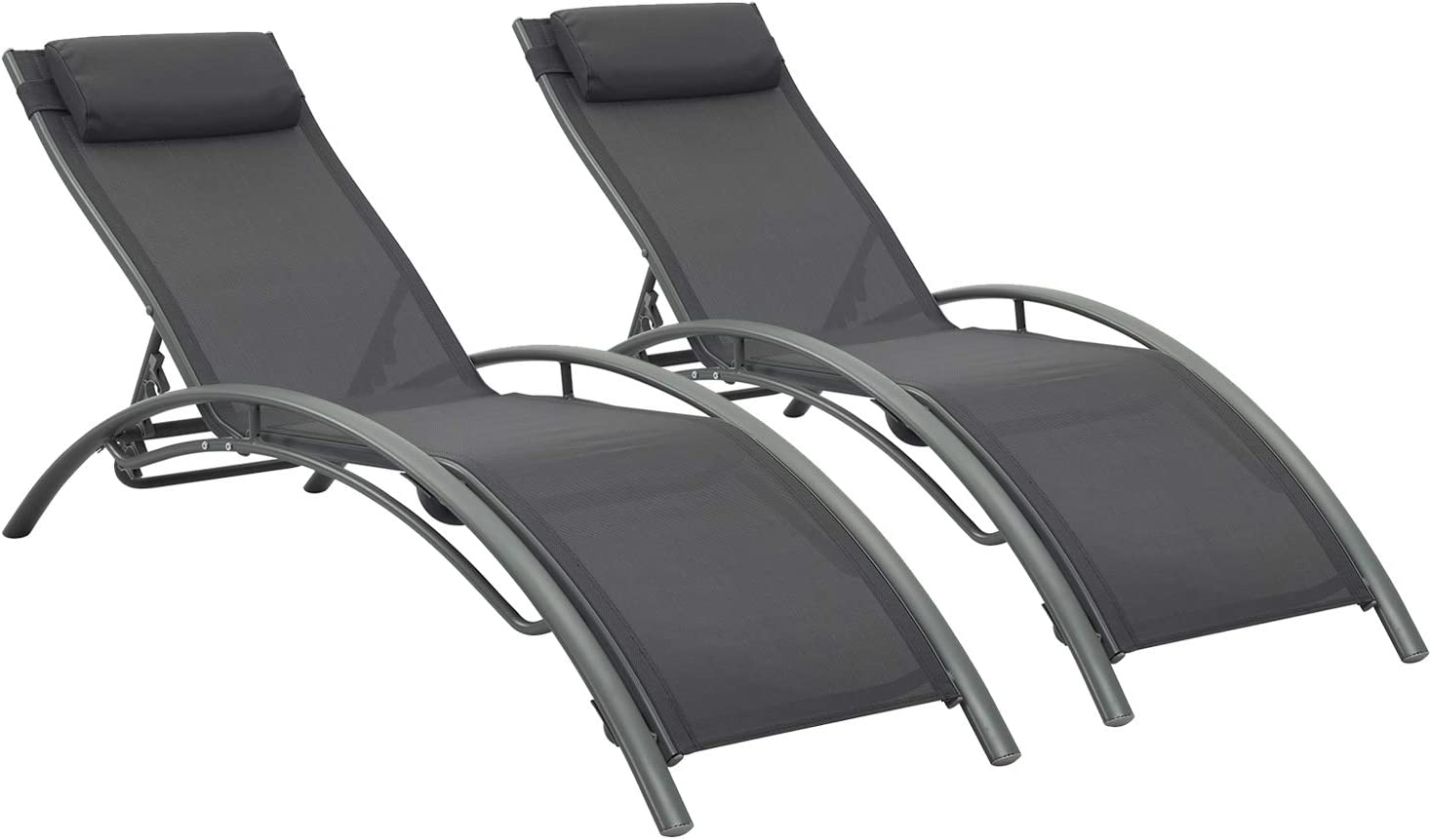 Ainfox Adjustable Chaise Lounge, Patio Reclining Elegant Lounge Chair Recliners Aluminum Sunbathing Chair with Headrest2 Pack (Gray)