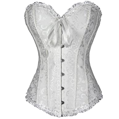 245b029e32 Lover-Beauty Ivory Classic Satic Lace up Slimming Plus Size Pleated Corset  Lingerie Top