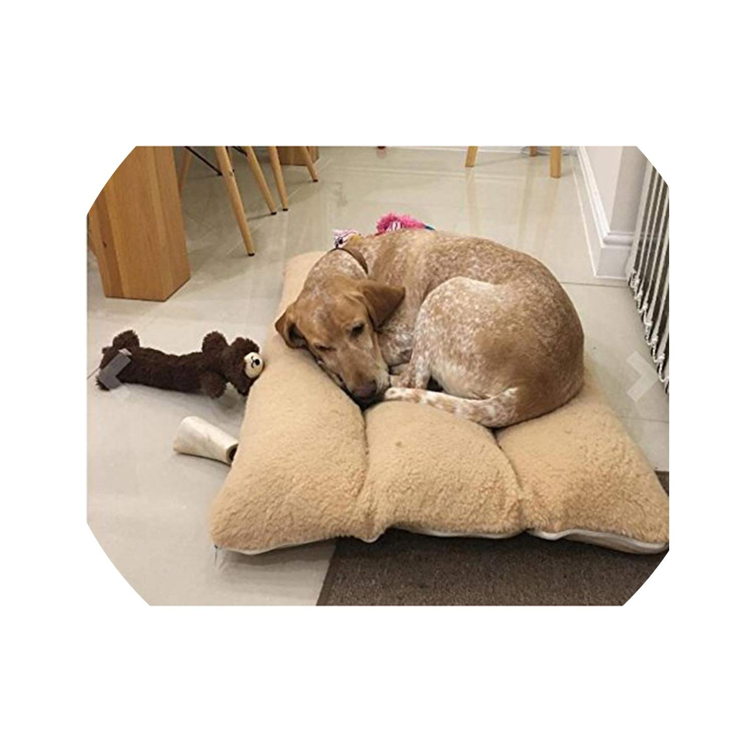 Fanjie's Department store Removable Cover Pet Mats Solid Soft Pet Blanket for Small Medium Dog Include 3 Pieces Cotton Part Pillow Shape Dog Bed,Yellow,120X80Cm by Fanjie's Department store