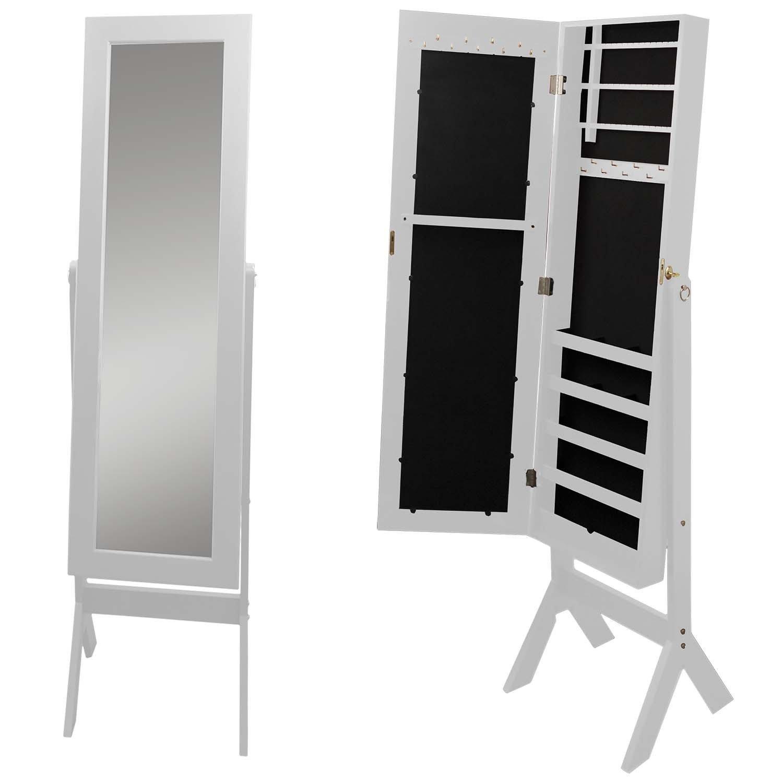 Schmuckschrank mit Spiegel 159x37x40cm Holz Spiegelschrank ...