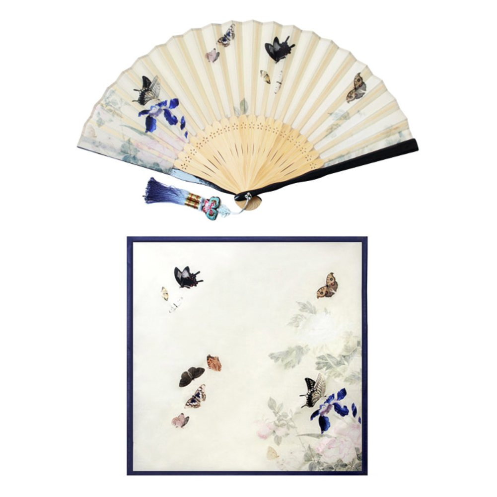 Korean Traditional Silk Hand Fan w/ Norigae+ Handkerchief Set Gift Box Special Gift (Navy) by Unknown