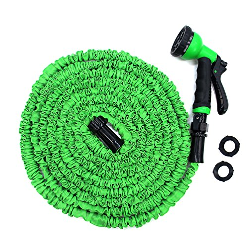 Garden Hose, 25ft Expandable Water Hose With Improved Leakproof Connector, Double Natural Latex Core, 8 Functions Spray Nozzle High Pressure Heavy Duty Watering Expanding Hose, Green