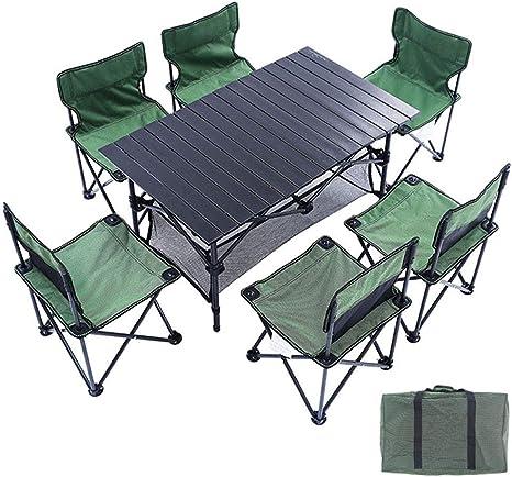 Juego de Mesa y Silla Plegable para Camping YXZQ para 6 ...