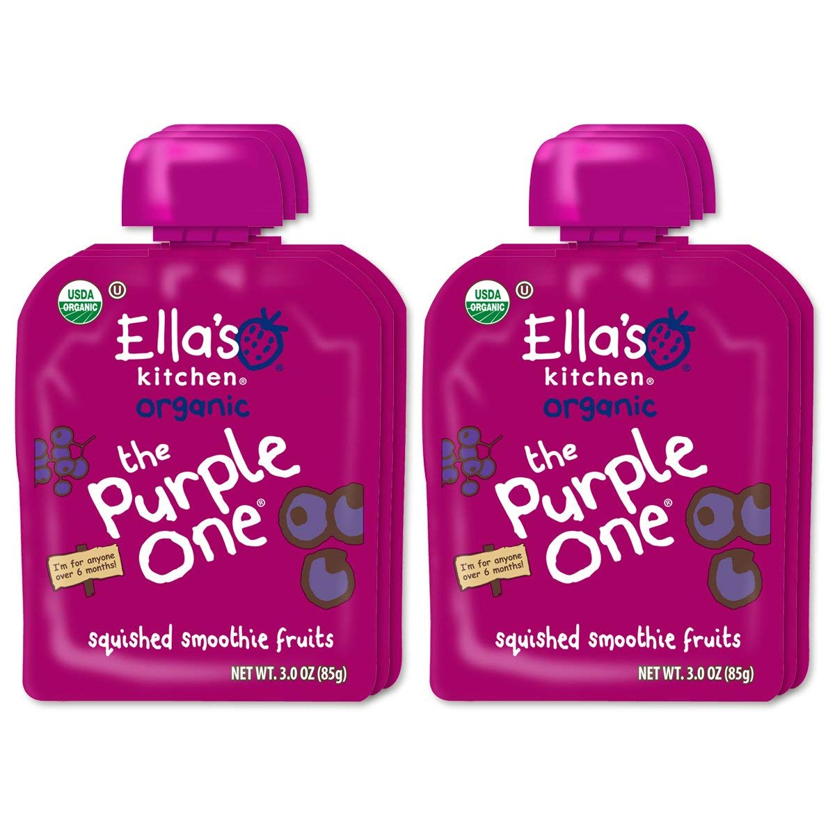 Ella's Kitchen 6+ Months Organic Smoothie Fruits, The Purple One, 3 oz. (Pack of 18)