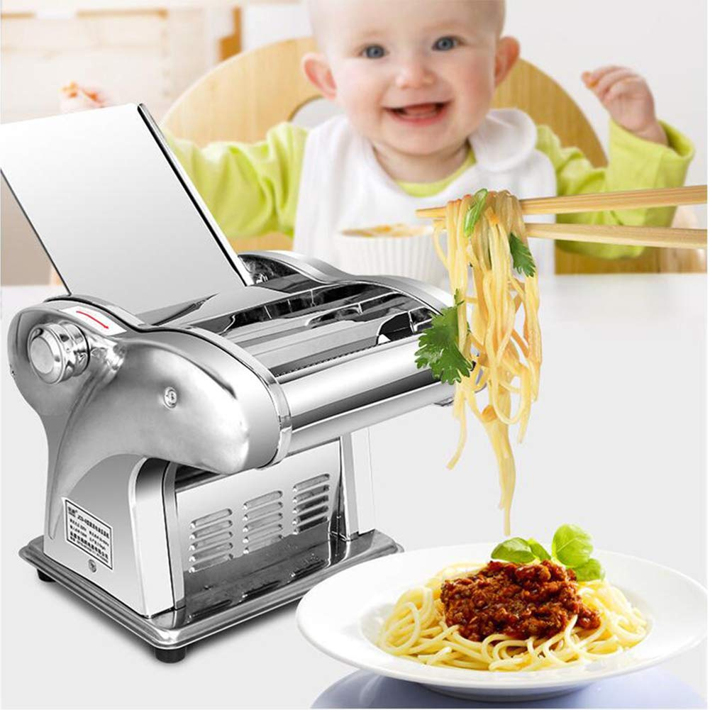 Electric Pasta Maker 110V 135W Automatic Noodle Machine Spaghetti Maker Commercial Stainless Steel Dough Cutter Dumplings Roller Noodles Hanger,6 Speed Adjustable Thickness Setting (1 Knife) by JIAN YA NA
