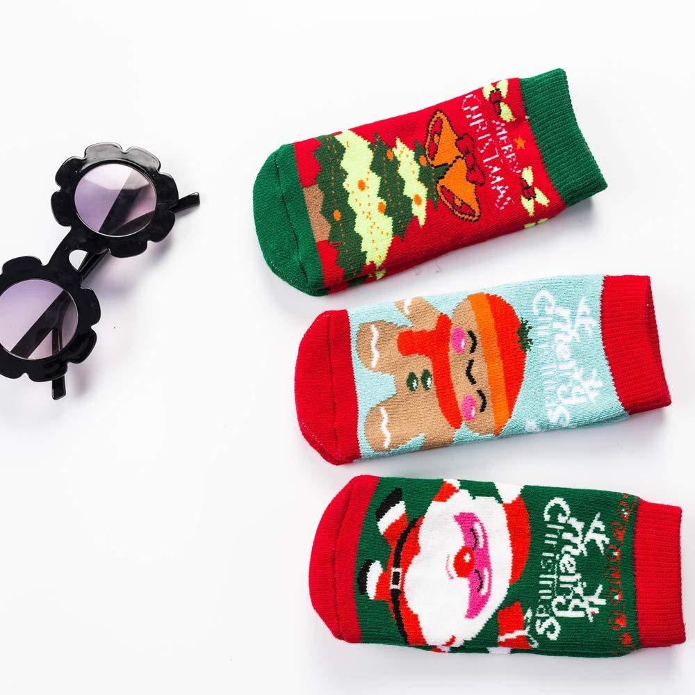 3 Pairs Unisex Baby Baby Kids Cartoon Xmas Printed Christmas Holiday Toddler Childrens Socks