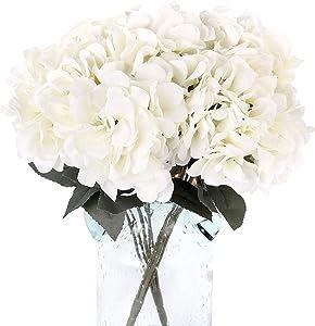 Blooming Paradise 5 Artificial Fake Flowers Plants Silk Hydrangea Arrangements Wedding Bouquets Decorations Plastic Floral Home Kitchen Garden Party Festival Bar DIY(White,5 Flower Heads)