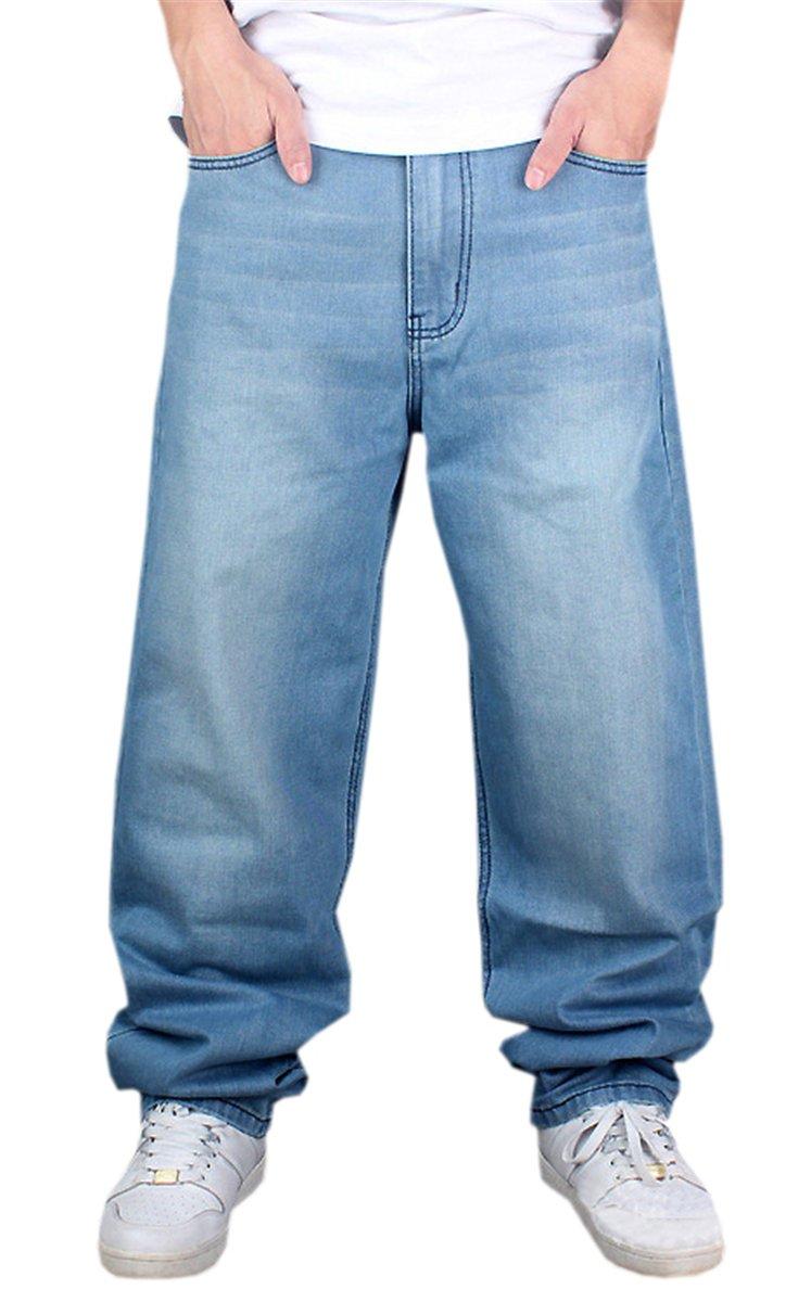 QZH.DUAO Men's Hip Hop Distressed Loose Fit Baggy Denim Jeans Pants, Light Blue, 38