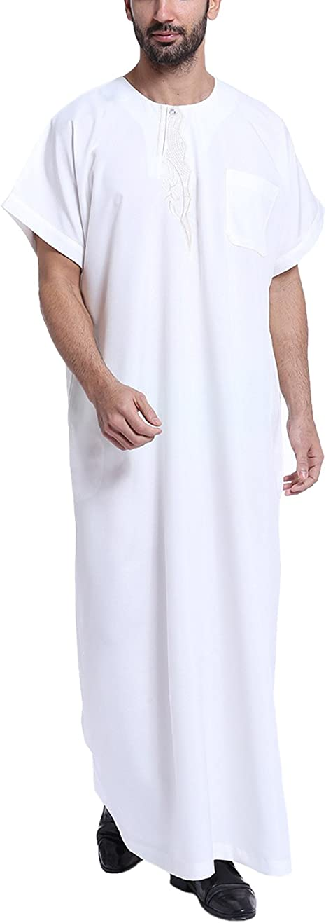 YCHENG Camisa Largo Bordado Camiseta Kurta Túnica Para Hombre Árabe Musulmán Thobe Manga Cortas Blanco L: Amazon.es: Ropa y accesorios