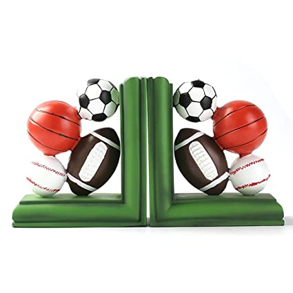 HEYFAIR Creative Rugby Basketball Soccer Volleyball Bookend Racks Book End Sets Bookshelf Display Organizers1