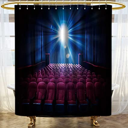 SOCOMIMI Mildew Resistant Fabric Shower Curtains Movie Theater With Empty Seats And Projector High Contrast Image