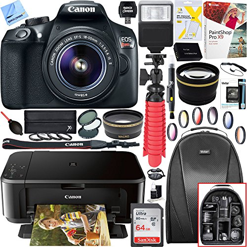 igital SLR Camera with EF-S 18-55mm IS II Lens and Canon Pixma MG3620 Wireless Inkjet All-In-One Multifunction Photo Printer 64GB Accessory Bundle (Digital Camera Printer Bundle)