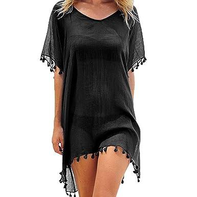 d54f3b217b1d5 YONHEE Women's Chiffon Tassel Swimsuit Summer Beach Cover Up Swimwear Dress  Beachwear (Black)