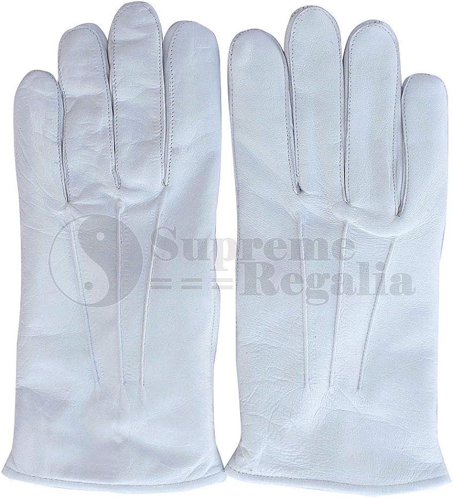 tinta unita morbidi Supreme Regalia LTD Guanti in pelle bianca massonica di alta qualit/à colore: bianco