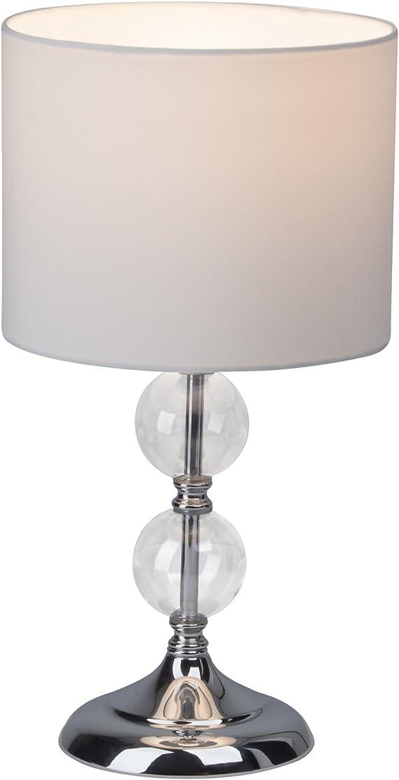 Lampada da tavolo con paralume in tessuto e sfere decorative in vetro, 38 cm d'altezza, decorazione per soggiorno, E27, metallo cromato, bianco