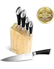 Denkich Ensemble de Couteaux, Acier Inoxydable Set de Blocs Couteaux de Cuisine
