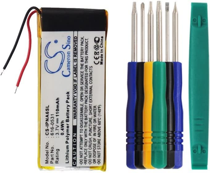 Cameron sino 110mAh Li-Polymer Replacement 616-0531 Battery For Apple iPod Nano 6th,iPod Nano 6 Gen With Tools Kit