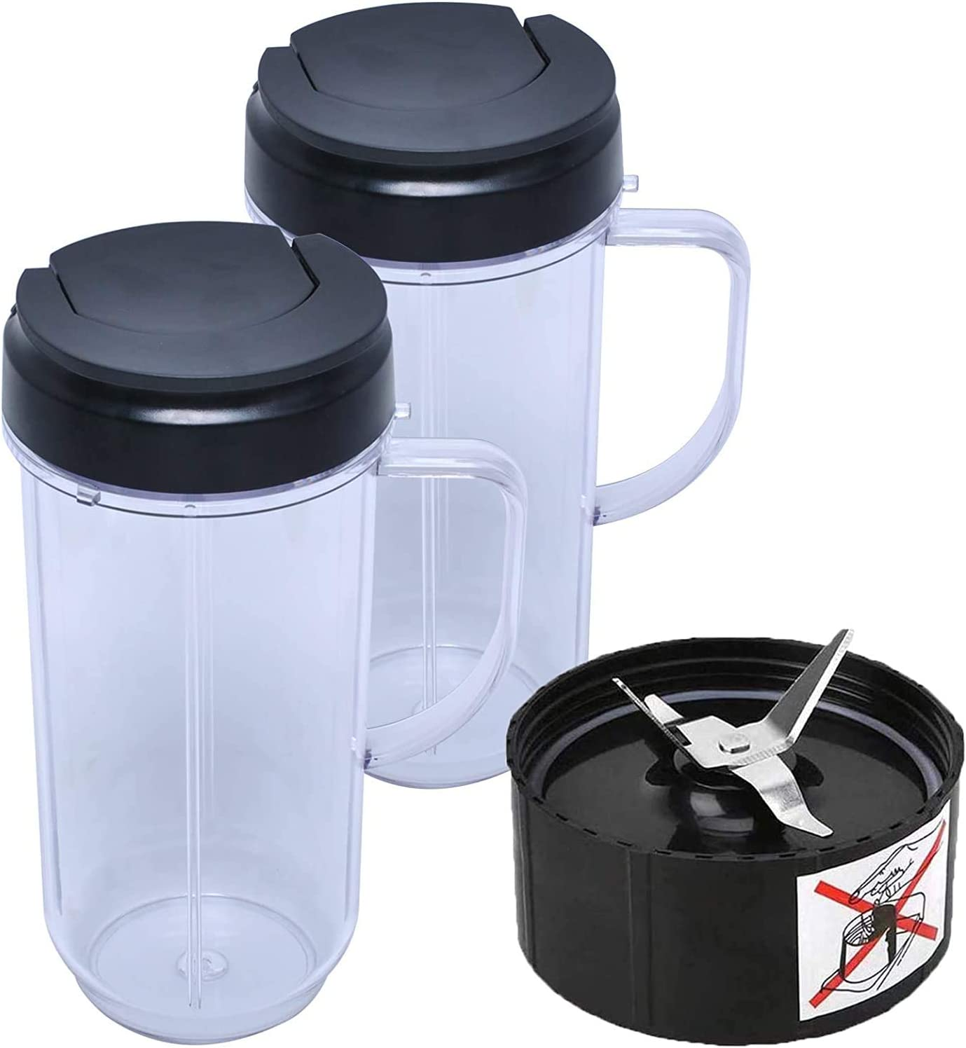 22 oz Tall Cup with Flip Top To-Go Lid and Cross Blade Replacement Parts for Magic Bullet 250W MB1001 Blenders