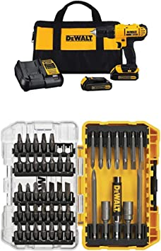 DEWALT DCD771C2 20V MAX Lithium-Ion Compact Drill/Driver Kit with DW2166 45-Piece Screwdriving Set
