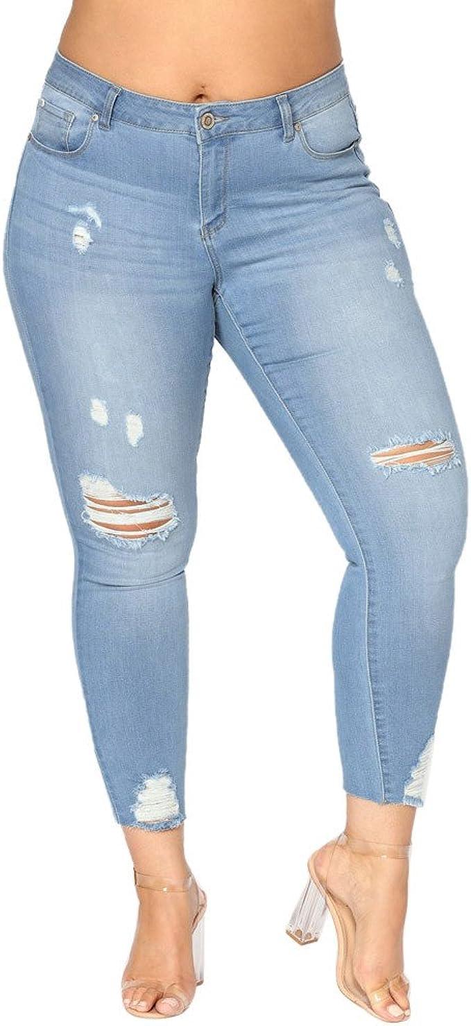 Sunenjoy Jeans Femme Déchiré Taille Haute,