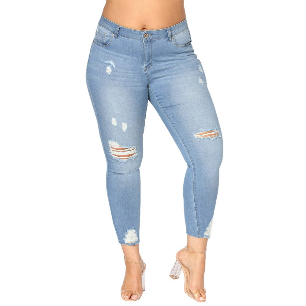 WEUIE Women Pants Hot Sale! Women Plus Size Ripped Stretch Slim Denim Skinny Jeans Pants High Waist Trousers (7XL,Light Blue)