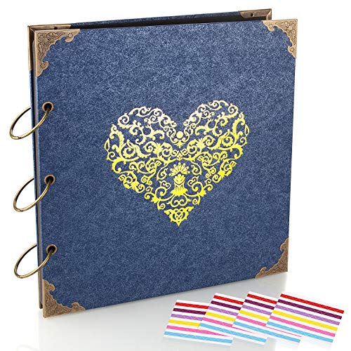 ADVcer Photo Album DIY Scrapbook (10x10 inch 50 Pages Double Sided) Vintage Hardcover Three-Ring Binder Picture Booth Albums with 6 Colors 408pcs Self Adhesive Photos Corners for Memory Keep (Blue)