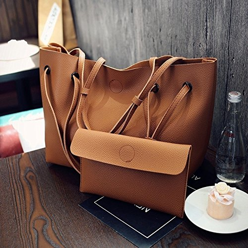 Wyhui 2 Pcs/set Women Leather Shoulder Messager Bag Tote Purse Handbag Crossbody Satchel Hot Black bags on sale