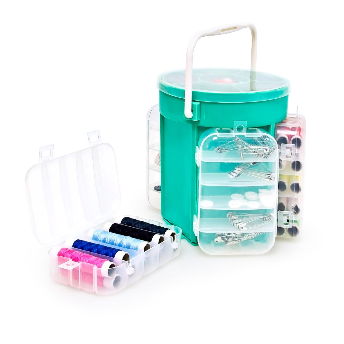 Relaxdays Sewing Box With 200 Parts + Box Sewing Kit Sewing Basket Box Chest Arts & Crafts 10014702