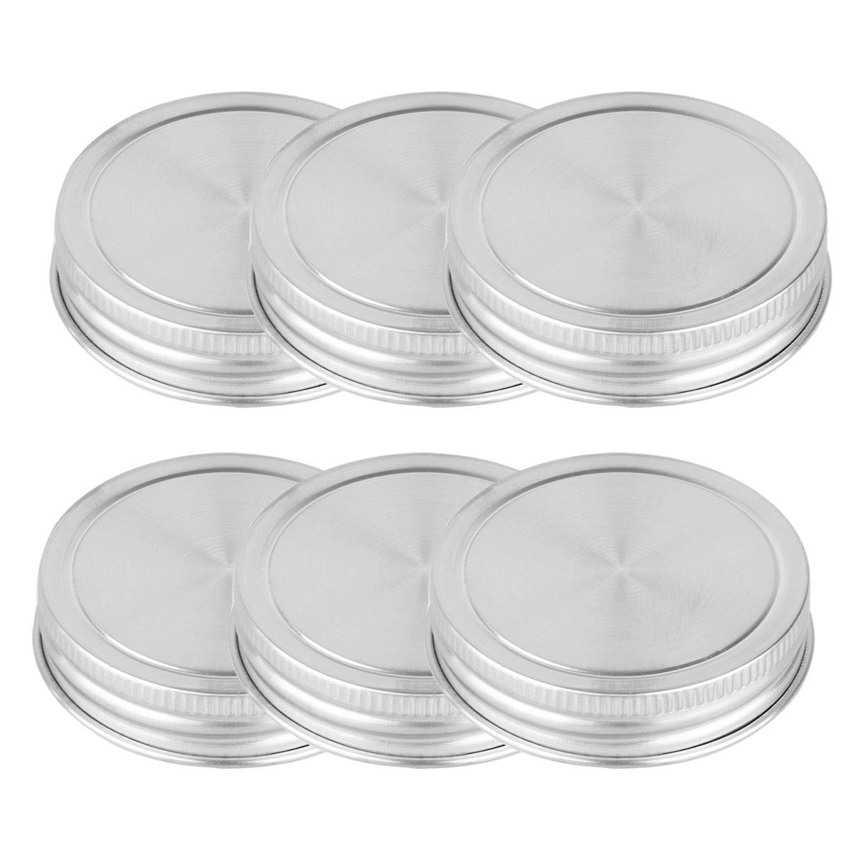 iEFiEL Rust Resistant Stainless Steel Storage Caps Silicone Seals Mason Lids fits 70mm Mouth 6pcs One Size