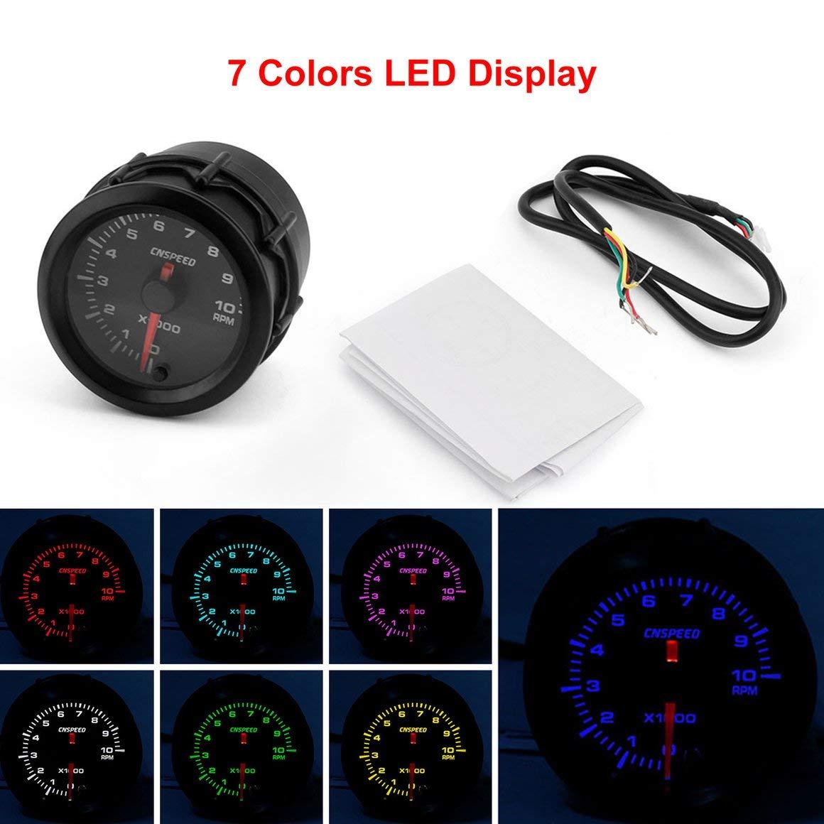 Funnyrunstore CNSPEED 12 V Autom/ático Tac/ómetro de Coche LED Digital Tach Gauge Meter 52mm 7 Colores LED Universal para Modificaci/ón de Coche 10000 RPM