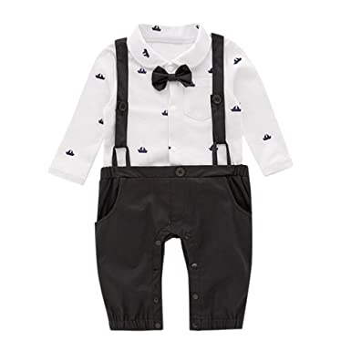66c706bdd13e Big Promotion!PLOT Clearance Newborn Baby Romper Gentleman Boat ...