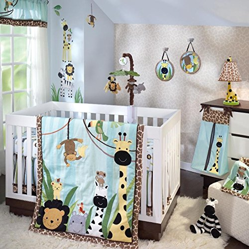 Peek A-boo Nursery - Lambs & Ivy Peek A Boo Jungle 6-Piece Crib Bedding Set - Blue Monkey/Giraffe/Zebra/Lion