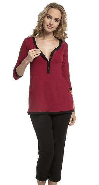 Mujer Pijama Premamá Camiseta Lactancia Pantalones Recortadas. 213p (Carmesí & Negro