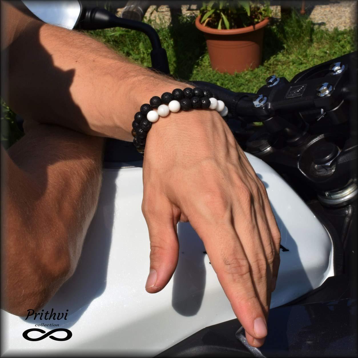 Dos pulseras masculinas - Magnesita (8 mm), Piedra de lava (8 mm)