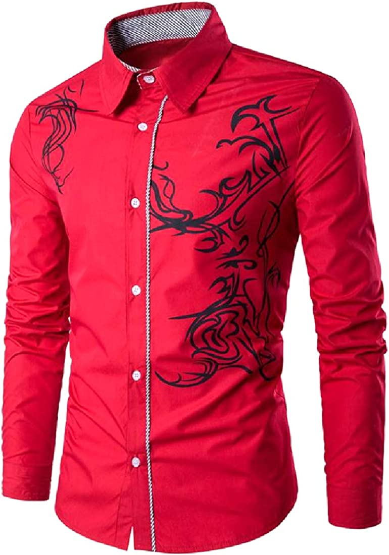 YUSKYMen Classic Fit Chinese Style Pure Color Twill Woven Shirt