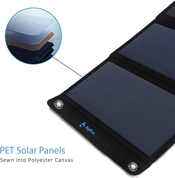BigBlue 28W Cargador Solar Portátil, 2 Puertos USB y 4 Paneles Solares Impermeables con LCD Amperímetro Digital para ...