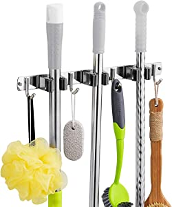 """Home Mop and Broom Holder Wall Mount Organizer,16""""Metal Stainless Broom Mop Holder Wall Mounted - Broom Hanger with 3 Unit Clamps and 4 Utility Hooks, for Bathroom Kitchen Office Garden"""