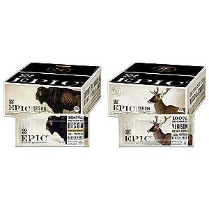 EPIC Bison Bacon Cranberry Bars, Grass-Fed, Paleo Friendly, 12 Ct Box 1.3oz bars & Venison Sea Salt & Pepper Bars, Whole 30, Keto Friendly, 12Ct Box 1.5oz bars
