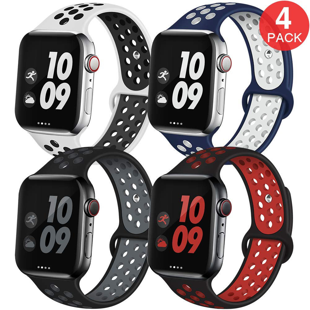 EXCHAR Sport Band Compatible with Apple Watch Band 44mm 42mm Breathable Soft Silicone Replacement Wristband Women and Man for iWatch Series 4 3 2 1 Nike+ All Various Styles M/L 4 Pack by EXCHAR