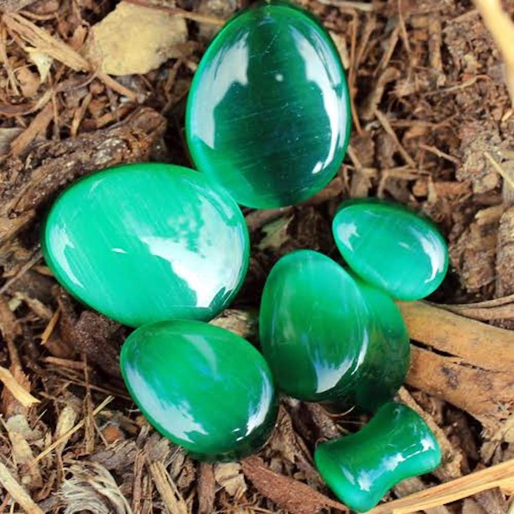 Covet Jewelry Natural Green Cats Eye Double Flare Teardrop Plug