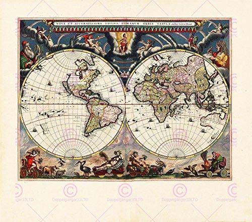 MAP ANTIQUE BLAEU WORLD ATLAS GLOBE HISTORIC LARGE REPLICA POSTER PRINT PAM0693