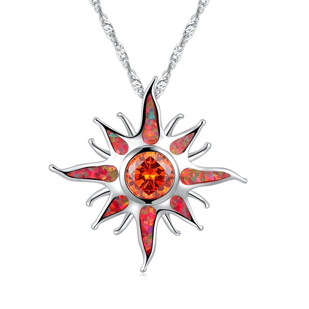 CiNily Created Orange Fire Opal Orange Garnet Rhodium Plated Women Jewelry Gemstone Pendant Necklace 1 1/4