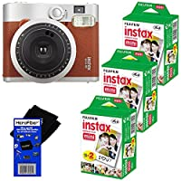 Fujifilm INSTAX Mini 90 Neo Classic Instant Film Camera (Brown) + Fujifilm Instax Mini Instant Film (60 sheets) + HeroFiber Ultra Gentle Cleaning Cloth