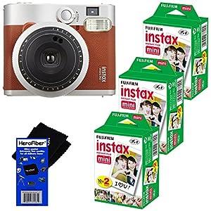 Fujifilm INSTAX Mini 90 Neo Classic Instant Film Camera (Brown) + Fujifilm Instax Mini Instant Film (60 sheets) + HeroFiber Ultra Gentle Cleaning Cloth