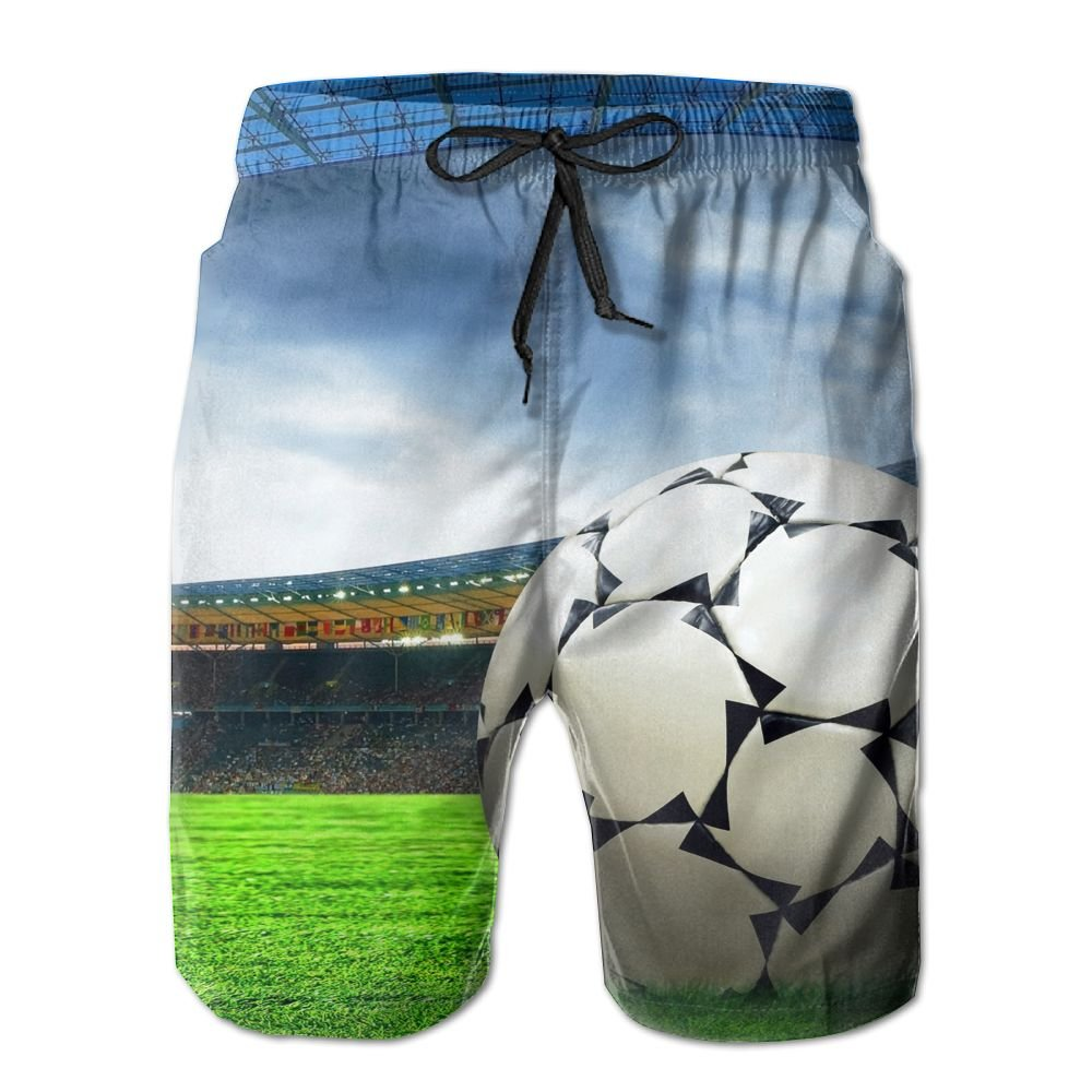JDHFAF Football Field Mens Beach Board Shorts Quick Dry Summer Casual Swimming Soft Fabric with Pocket