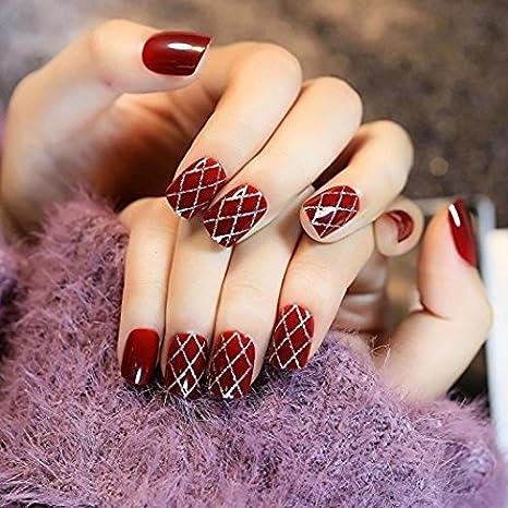 YUNAI uñas postizas- el estilo retro y corto atractivo Tamaño rojo oscuro del clavo falso para las mujeres: Amazon.es: Belleza