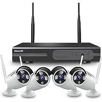 【2020 Update】SmartSF Wireless Videoüberwachungsset 1080P 4CH HD NVR, 4x2.0MP 1080P Kamera, 65ft Nachtsicht P2P, Motion Detection, E-mail, NO HDD(unterstützt sowohl kabelgebunden, als auch drahtlos)