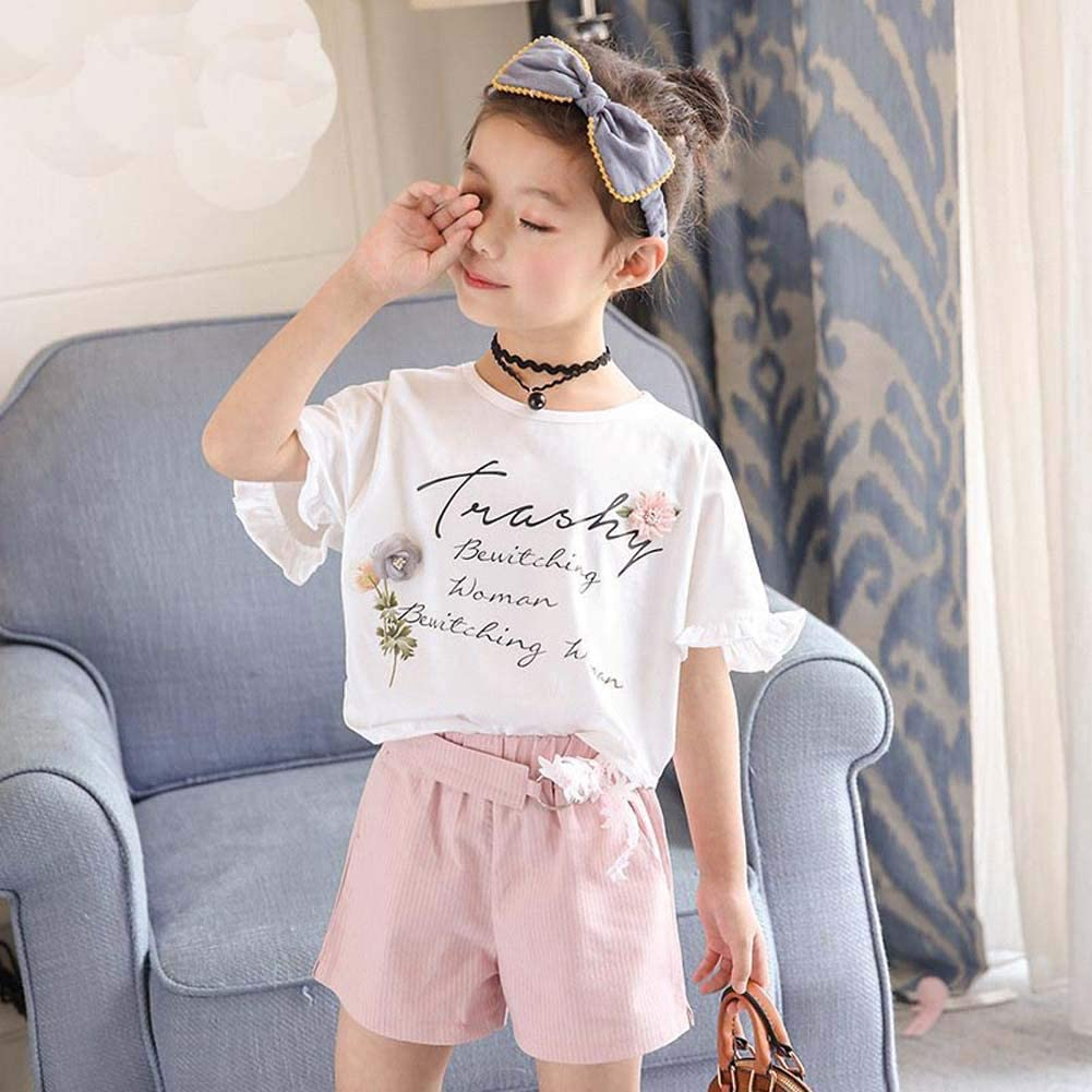 Shorts with Belt 2Pcs Casual Outfits Gyratedream Girls Summer Clothes Set 2-7 Years Kids Short Sleeve T-Shirt Letter Print Blouse Tops