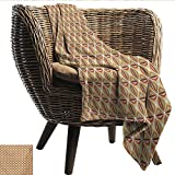 EwaskyOnline Retro Blanket Custom Photo Abstract Geometrical Stripes with Curves in Sixties Seventies Style Recliner Throw,Couch Throw, Couch wrap 72' W x 54' L Multicolor